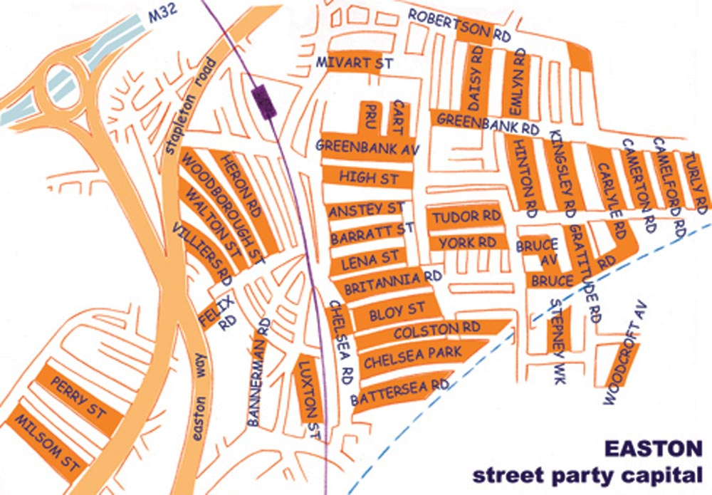 Easton street party map