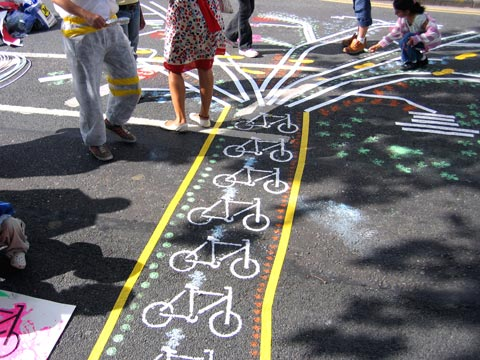 Street art about cycle lanes