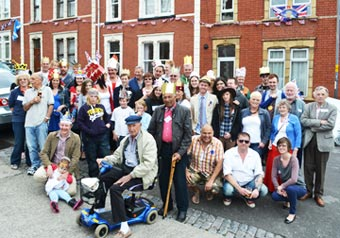 A crowd of residents during their Jubilee street party