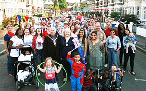 Residents at a royal wedding street party in 2011