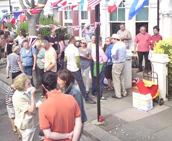 A gathering of neighbours celebrating the Queen's Jubilee