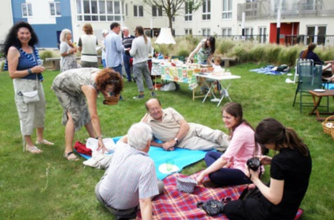 People sitting leisurely in a green space having a picnic